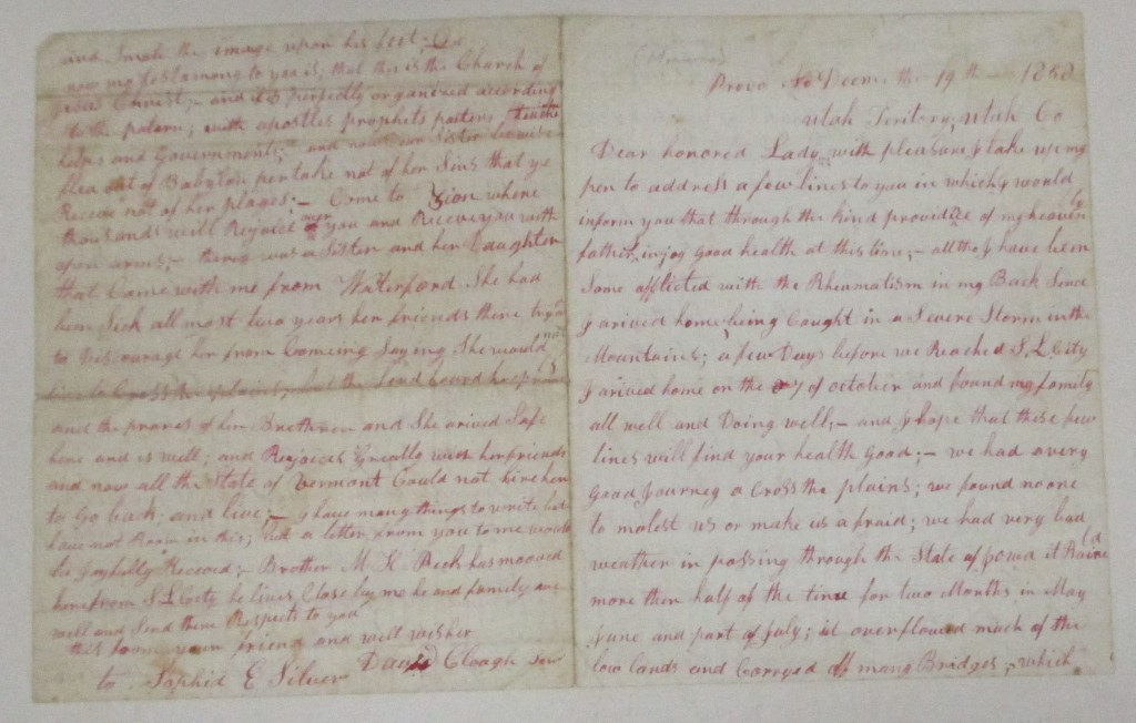 (MORMONS.) Cluff, David. Letter from an early settler of Provo, recounting his first meeting with Joseph Smith and his trip west.