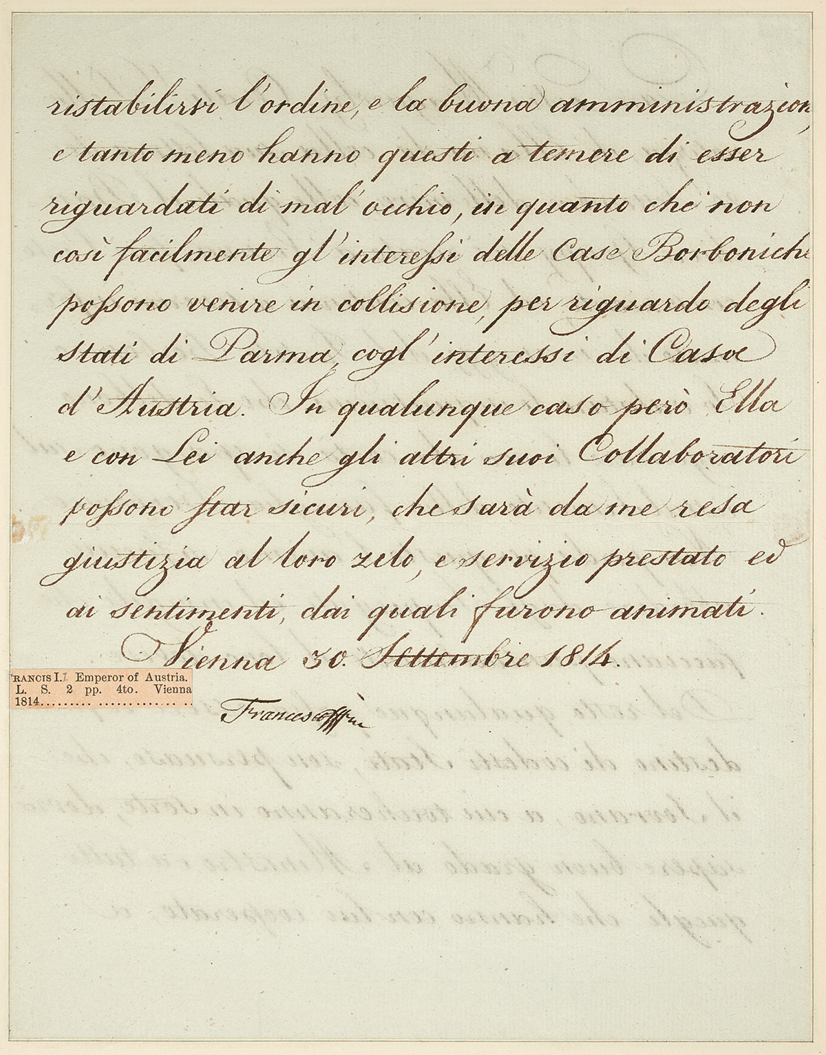 FRANZ-I;-EMPEROR-OF-AUSTRIA-Letter-Signed-Frances-as-Emperor-to-Count-Magawly-Cerati-in-Italian