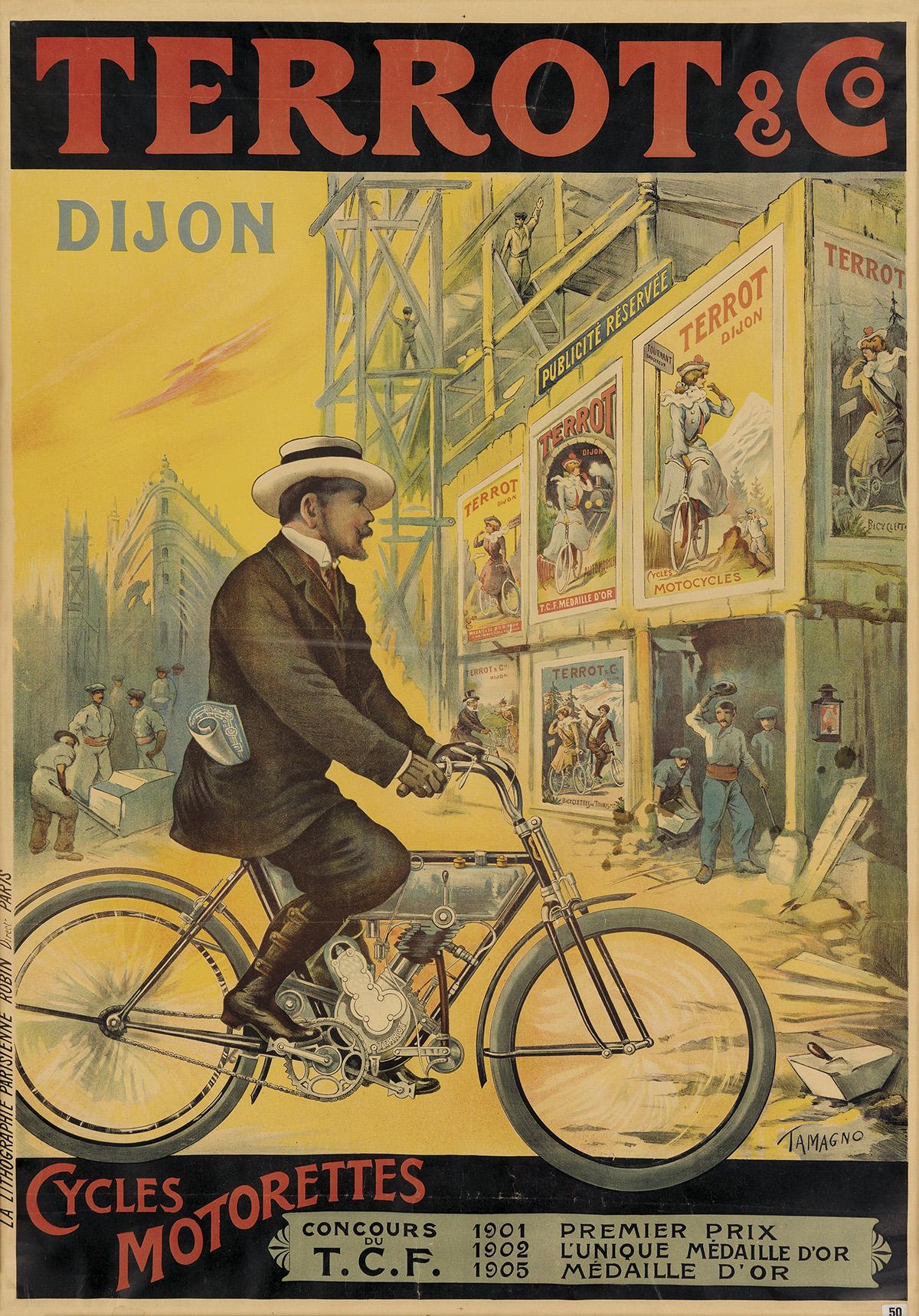 FRANCISCO TAMAGNO (1851-1933). TERROT & CO. / CYCLES MOTORETTES. 1909. 52x36 inches, 134x93 cm. La Lithographie Parisienne Rubin, Paris