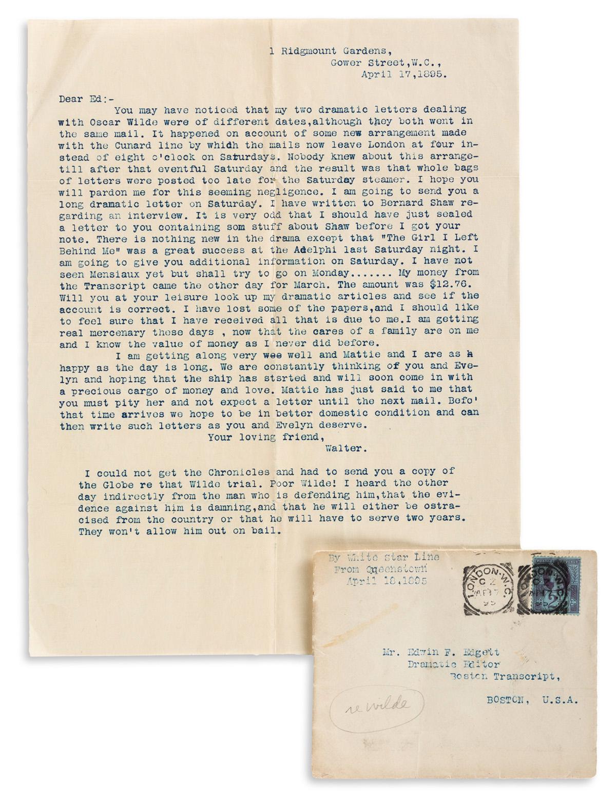 (OSCAR WILDE TRIAL.) Typed Letter Signed by unidentified drama critic to Boston Transcript editor Edwin F. Edgett regarding the trial o