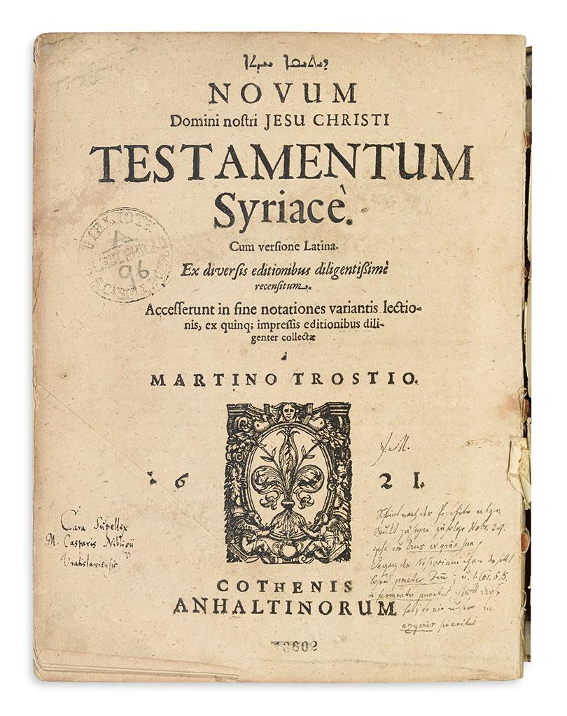 BIBLE-IN-SYRIAC--Novum----Testamentum-Syriace--1621