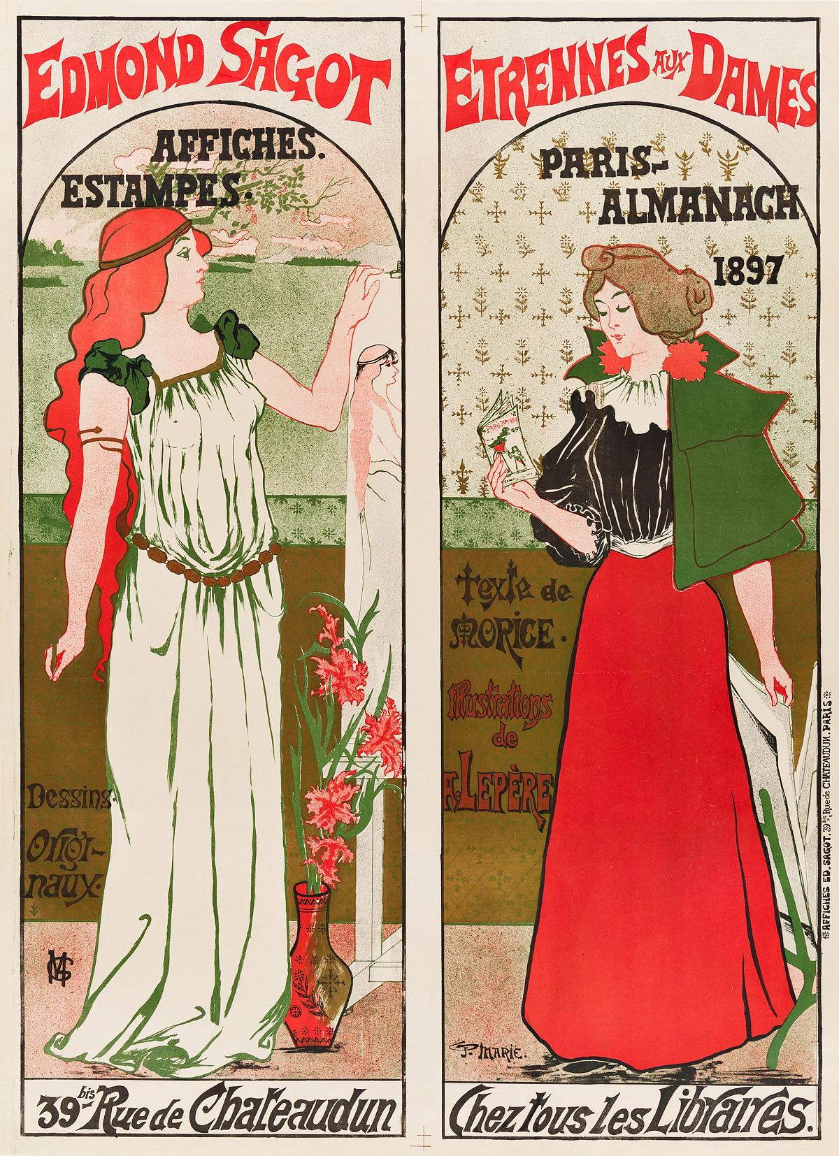 GUSTAVE-MARIE-(DATES-UNKNOWN)-EDMOND-SAGOT--ETRENNES-AUX-DAMES-1897-34x25-inches-87x63-cm-Edmond-Sagot-Paris