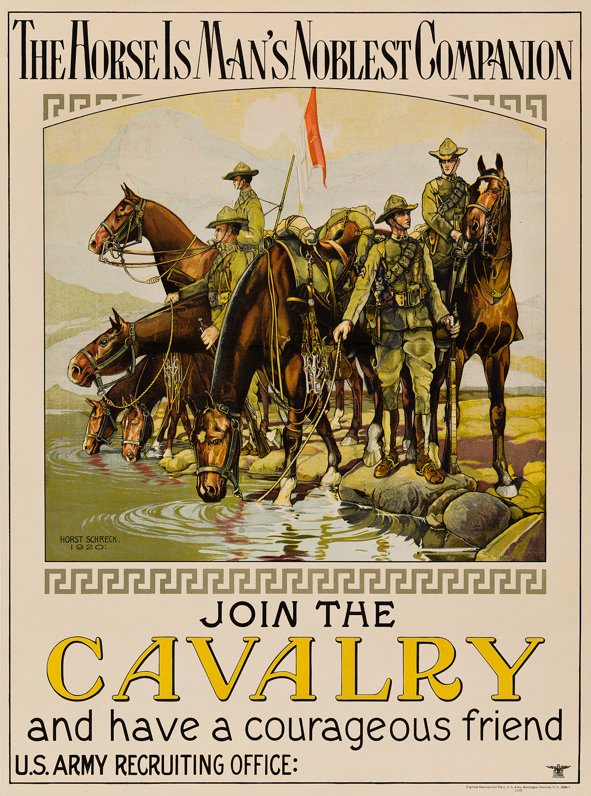 HORST-SCHRECK-(1885-1967)-THE-HORSE-IS-MANS-NOBLEST-COMPANION--JOIN-THE-CAVALRY-AND-HAVE-A-COURAGEOUS-FRIEND-1920-25x18-inches-64