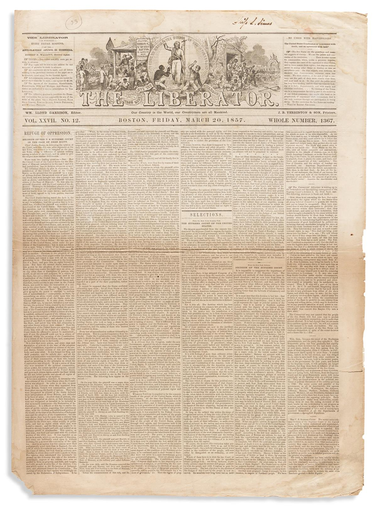 (SLAVERY AND ABOLITION.) The Liberators coverage of the infamous Dred Scott decision.