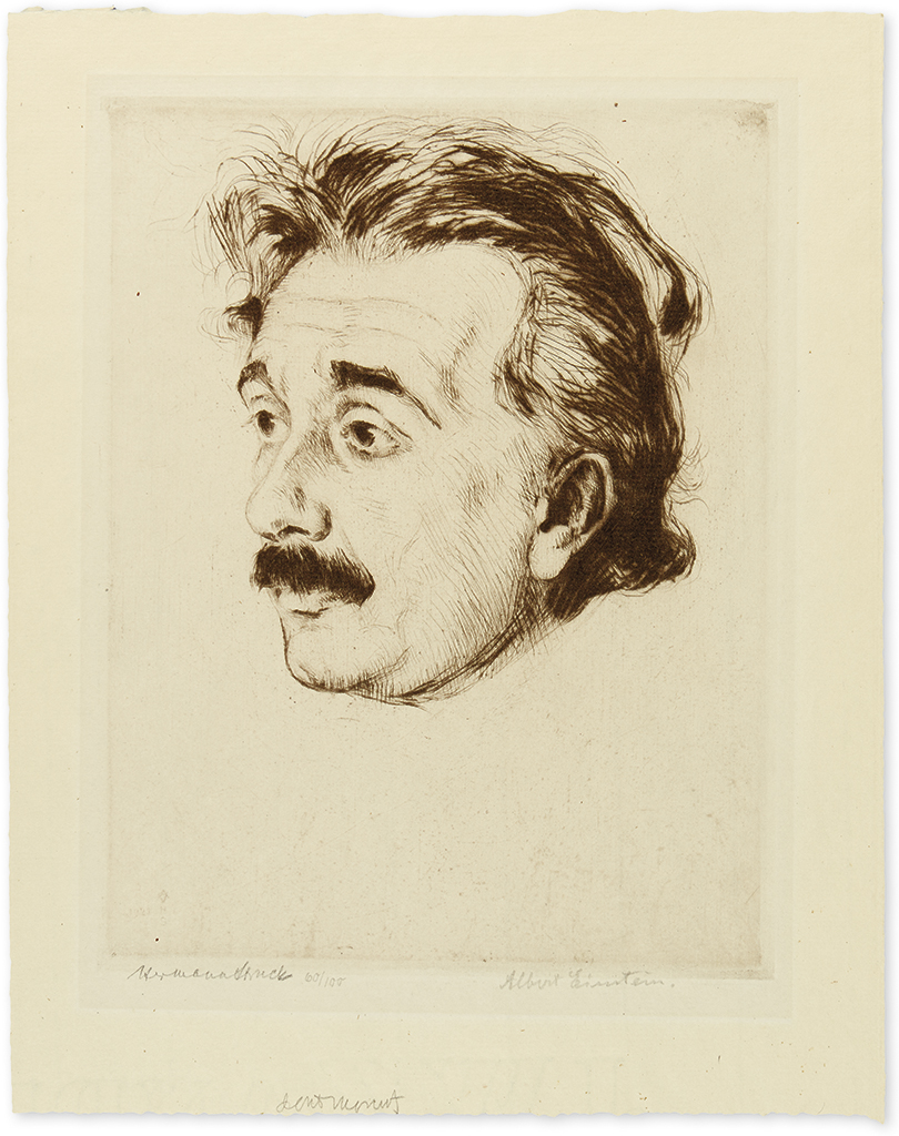 EINSTEIN, ALBERT. Etched portrait of him by Hermann Struck, Signed at lower right, in pencil,