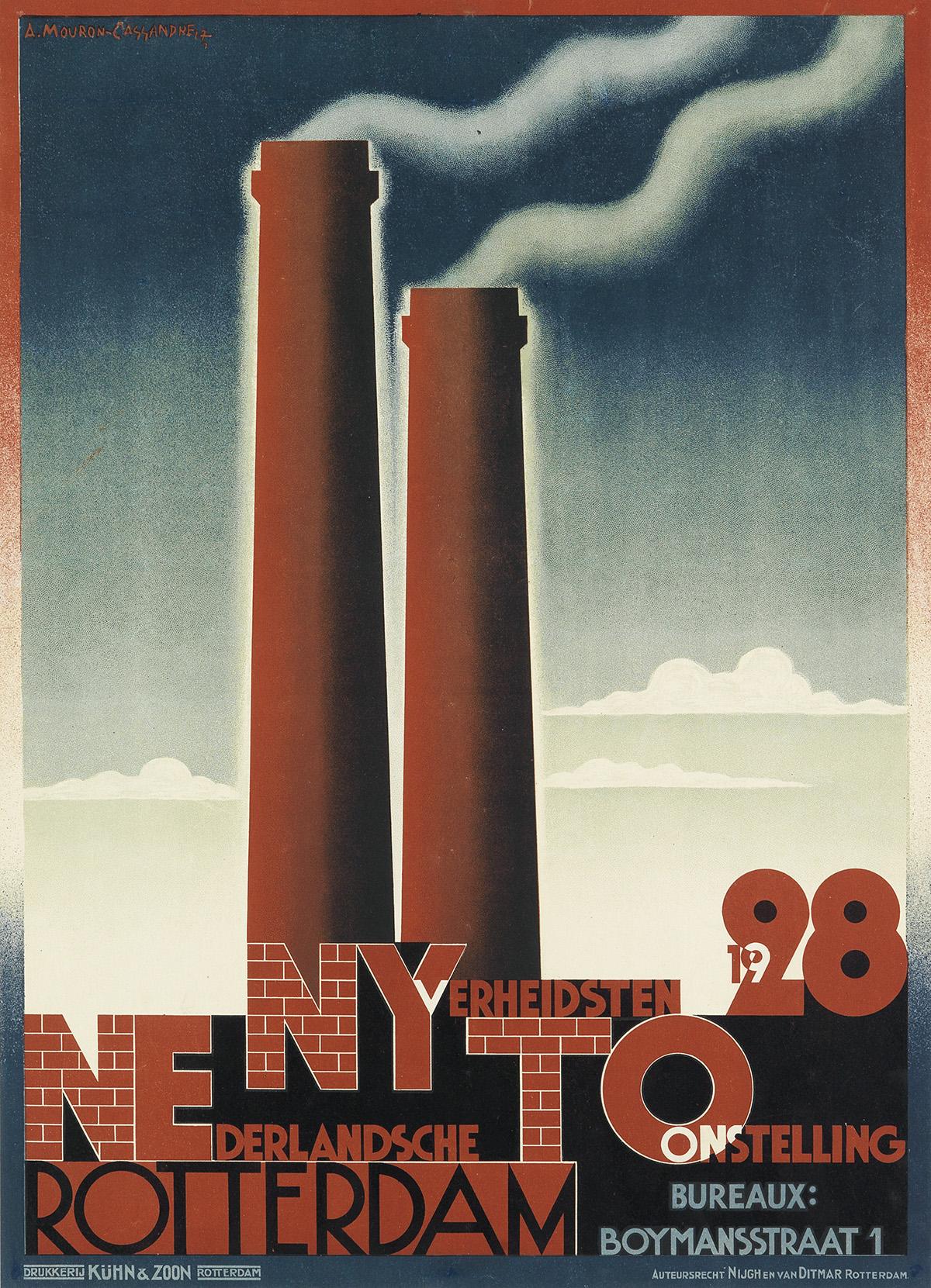 ADOLPHE-MOURON-CASSANDRE-(1901-1968)-NEDERLANDSCHE-NYVERHEIDSTEN-TOONSTELLING--ROTTERDAM-1927-21x15-inches-54x38-cm-Kühn--Zoon
