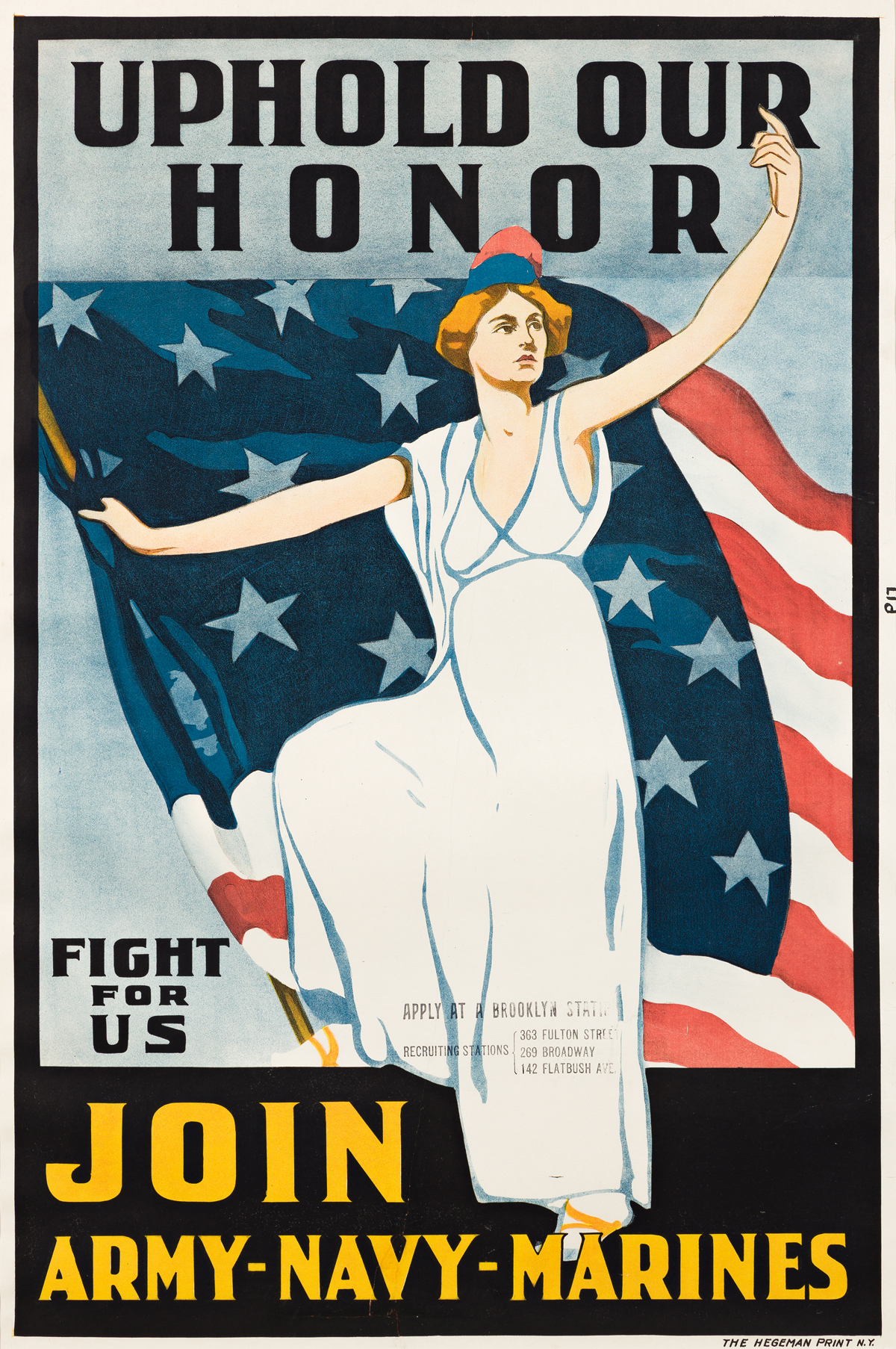 DESIGNER UNKNOWN.  UPHOLD OUR HONOR / JOIN ARMY - NAVY - MARINES. 1917. 39¼x26 inches, 99½x66 cm. The Hegeman Print, [New York.]