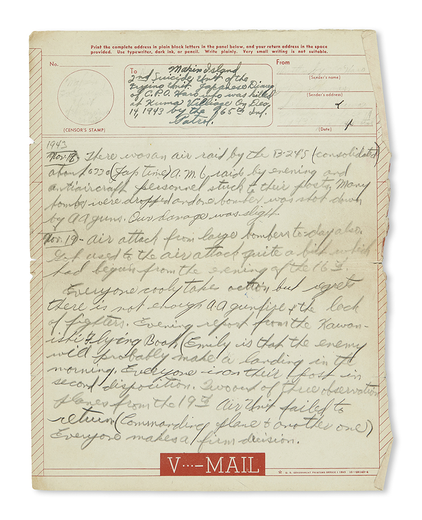(WORLD WAR TWO.) Haro, Chief Petty Officer. Diary of a Japanese holdout during the Pacific campaign, translated after he was killed.
