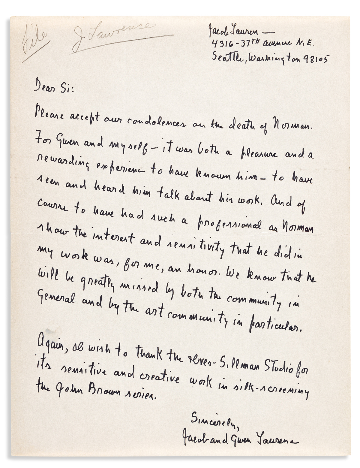 (ART.) Jacob Lawrence. File of his correspondence with the printers of his John Brown series.