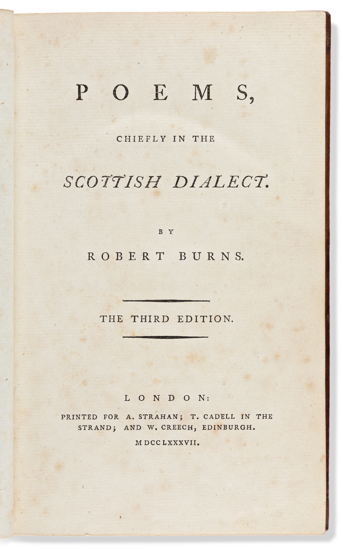 Burns, Robert (1759-1796) Poems, Chiefly in the Scottish Dialect.