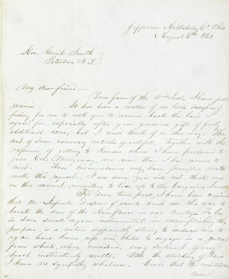(SLAVERY AND ABOLITION.) BROWN, JOHN JR. Autograph Letter Signed addressed to Gerrit Smith at Petersboro, New York, dated August 6th, 1