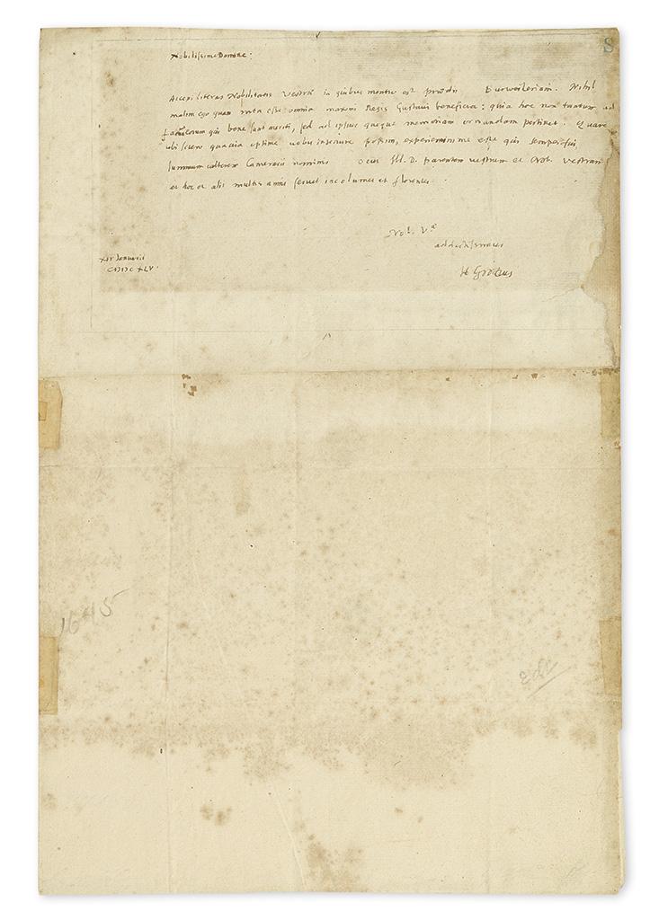 GROTIUS, HUGO. Autograph Letter Signed, H Grotius, to Ludwig Camerarius, in Latin,