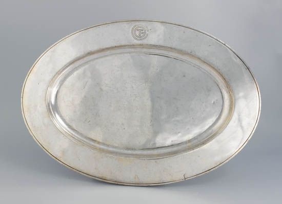 (FRENCH LINE.) Normandie. Silver serving platter by Christofle,