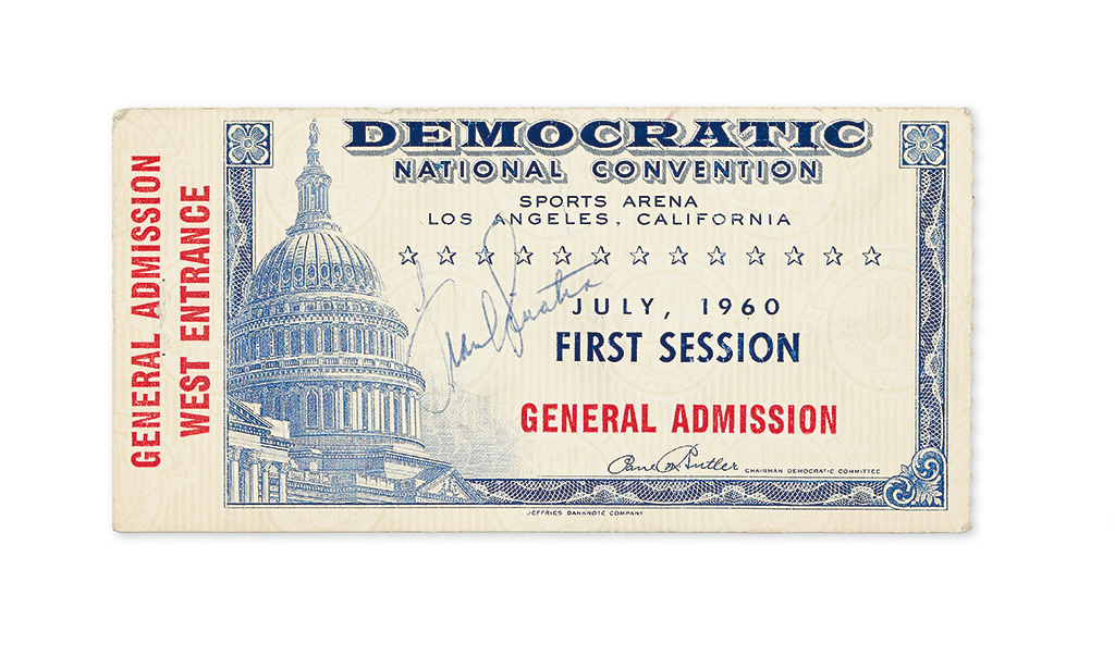 SINATRA, FRANK. Signature, on a 1960 Democratic National Convention admission ticket.