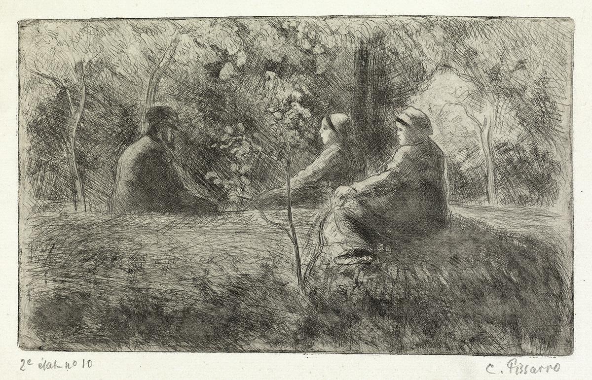 CAMILLE PISSARRO Repos du dimanche dans le bois.