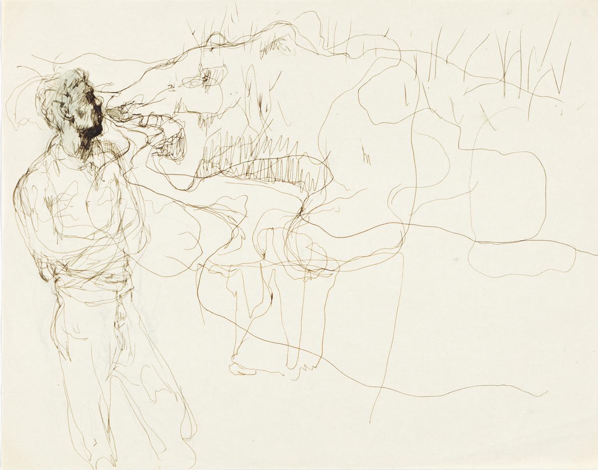 PAVEL TCHELITCHEW (1898-1957) Standing Man Facing an Animal.