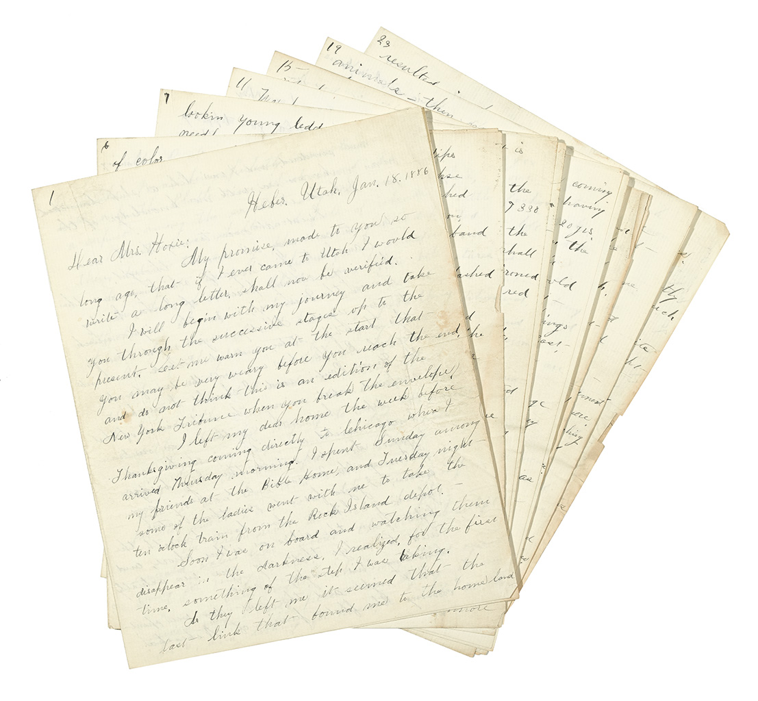 (UTAH.) Crosby, Florence S. Long letter by an early Protestant teacher in a Mormon frontier town.