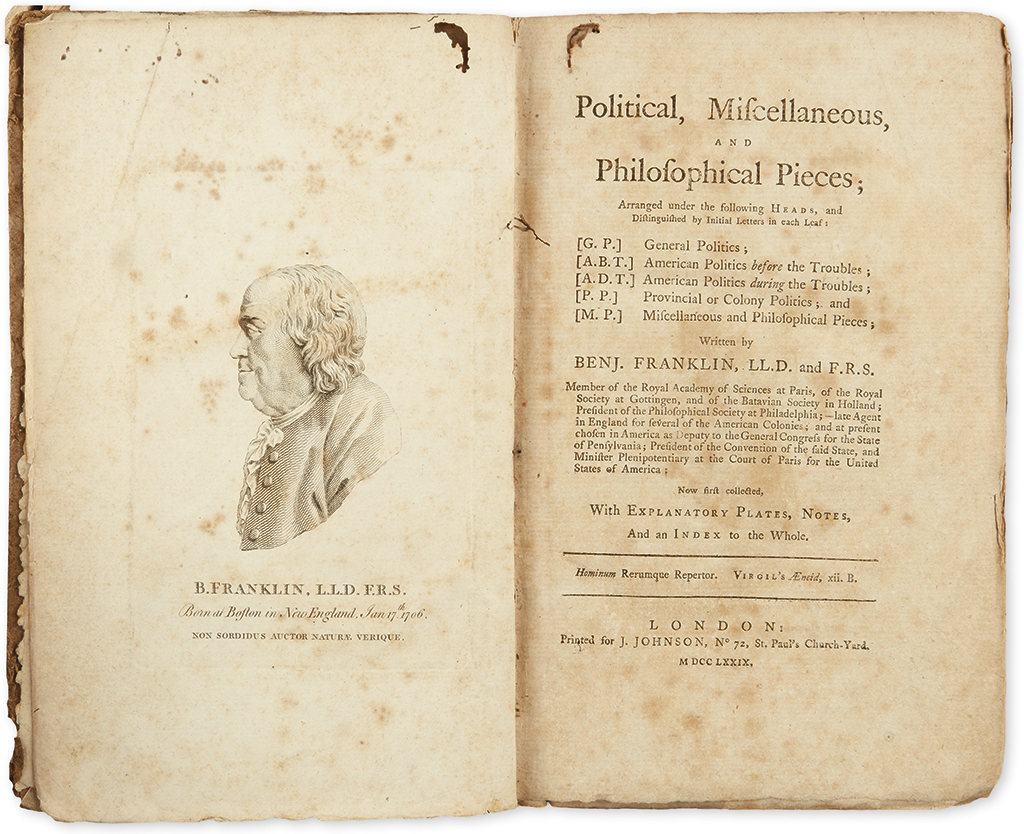 FRANKLIN, BENJAMIN. Political, Miscellaneous, and Philosophical Pieces.