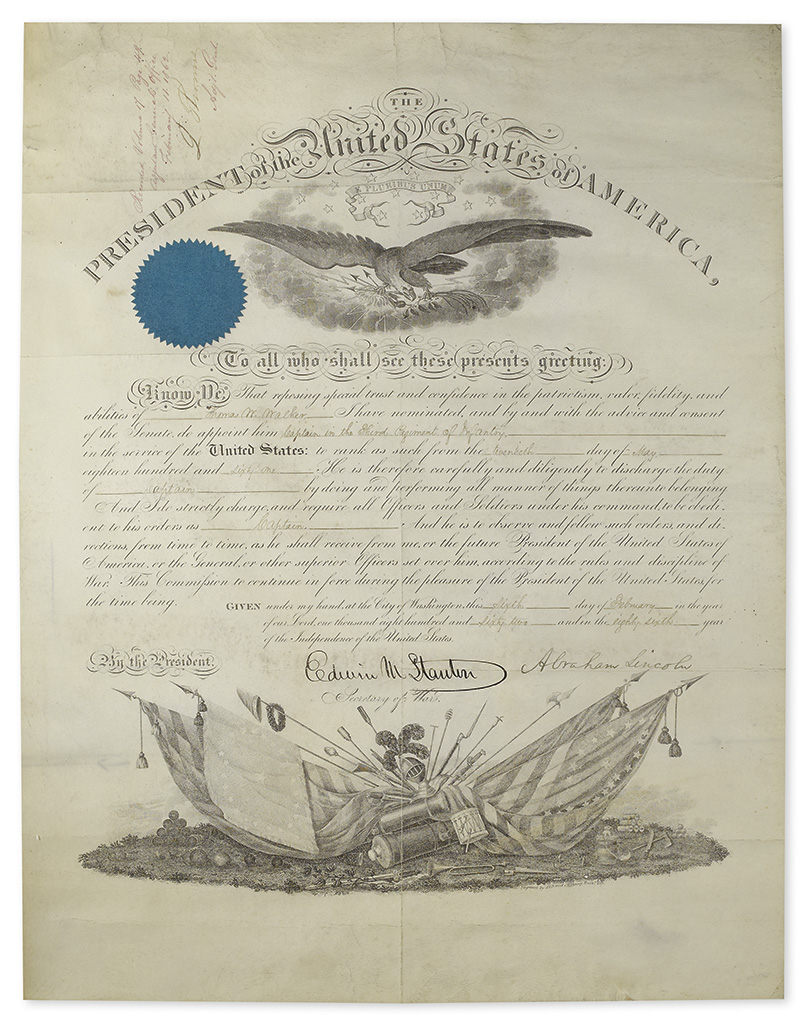 LINCOLN, ABRAHAM. Partly-printed vellum Document Signed, as President,