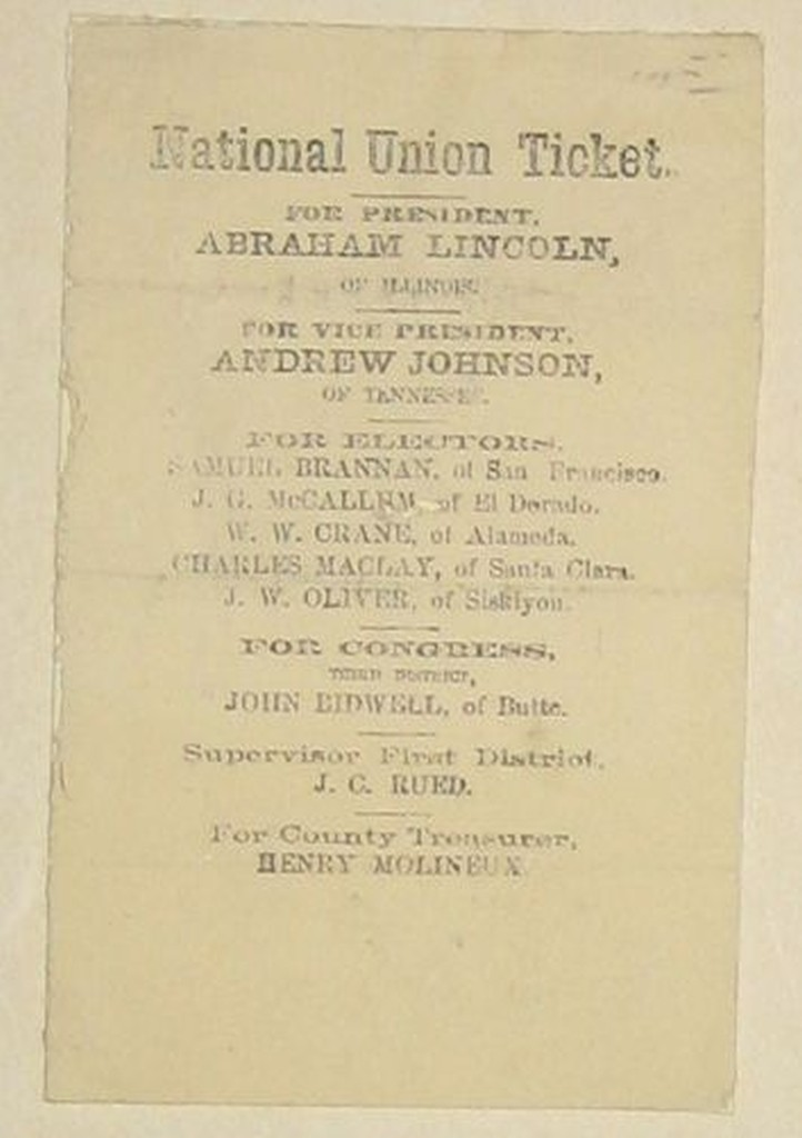 (LINCOLN, ABRAHAM.) Group of 15 ribbons, memorial cards, and ballots, most of them Lincoln-related.
