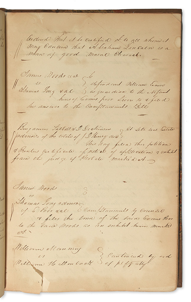 (LINCOLN, ABRAHAM.) Minute book of the Sangamon County Circuit Court.