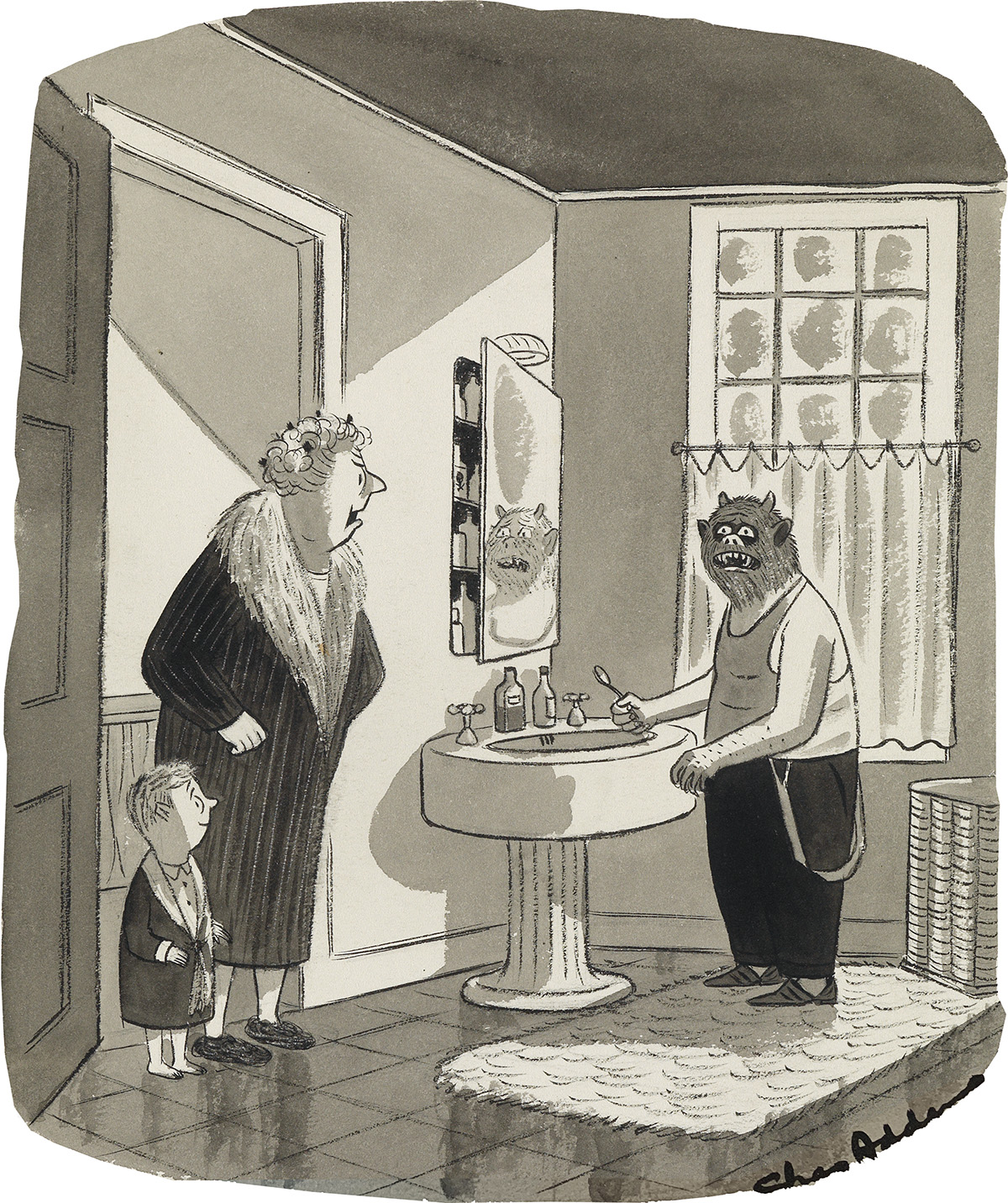 CHARLES ADDAMS. (CARTOON) How many times have I told you -- always read the labels.