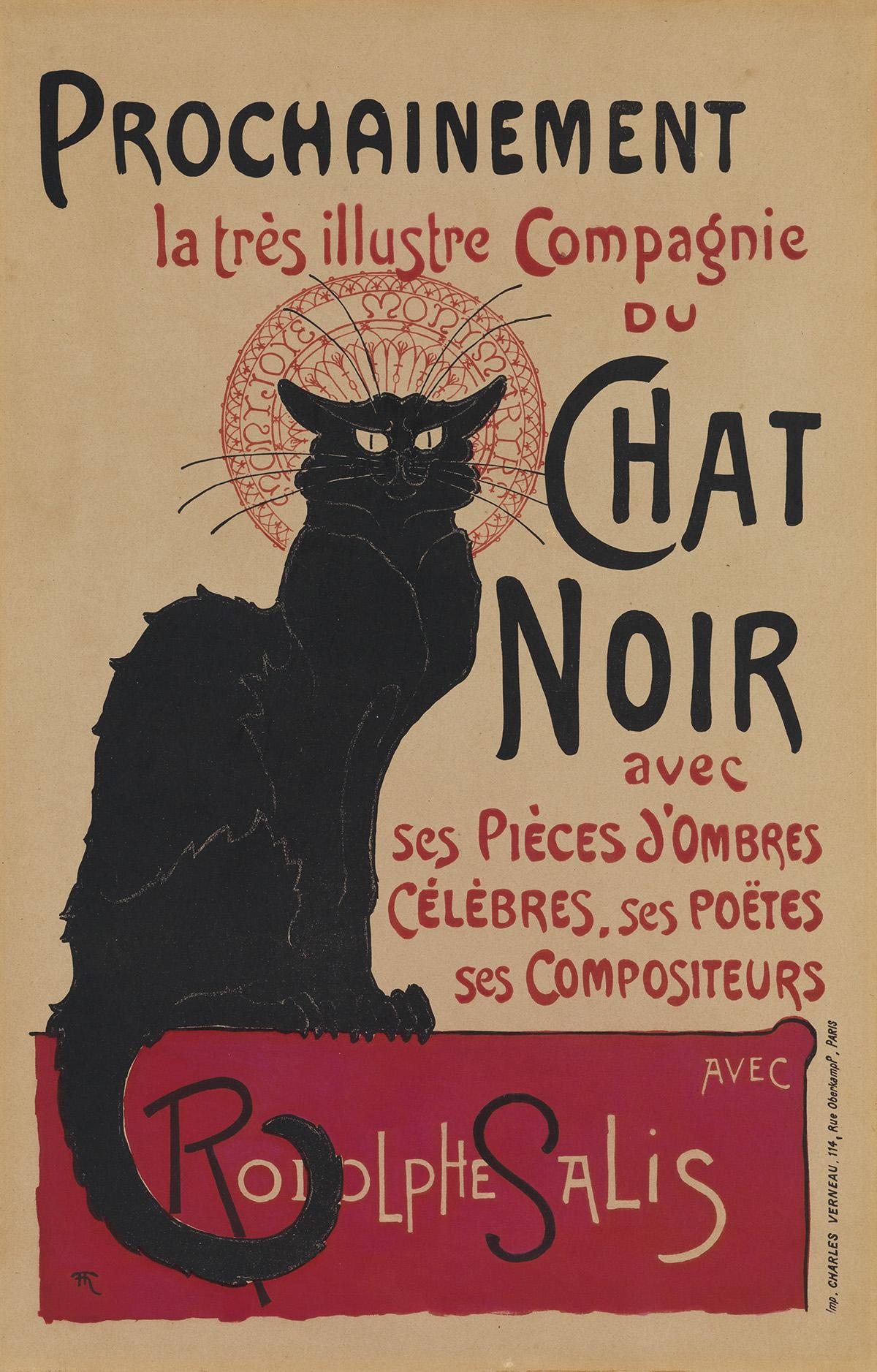 THÉOPHILE-ALEXANDRE STEINLEN (1859-1923). CHAT NOIR. 1896. 24x15 inches, 62x39 cm. Charles Verneau, Paris.