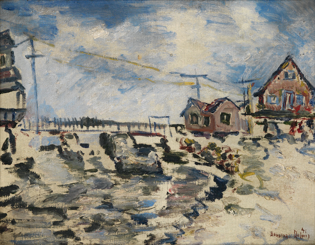 BEAUFORD-DELANEY-(1901---1979)-Untitled-(Waterfront-Landscap