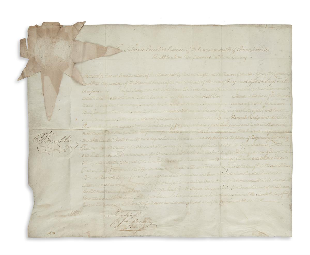 FRANKLIN, BENJAMIN. Vellum Document Signed, B. Franklin, as President of the Supreme Executive Council of Pennsylvania,