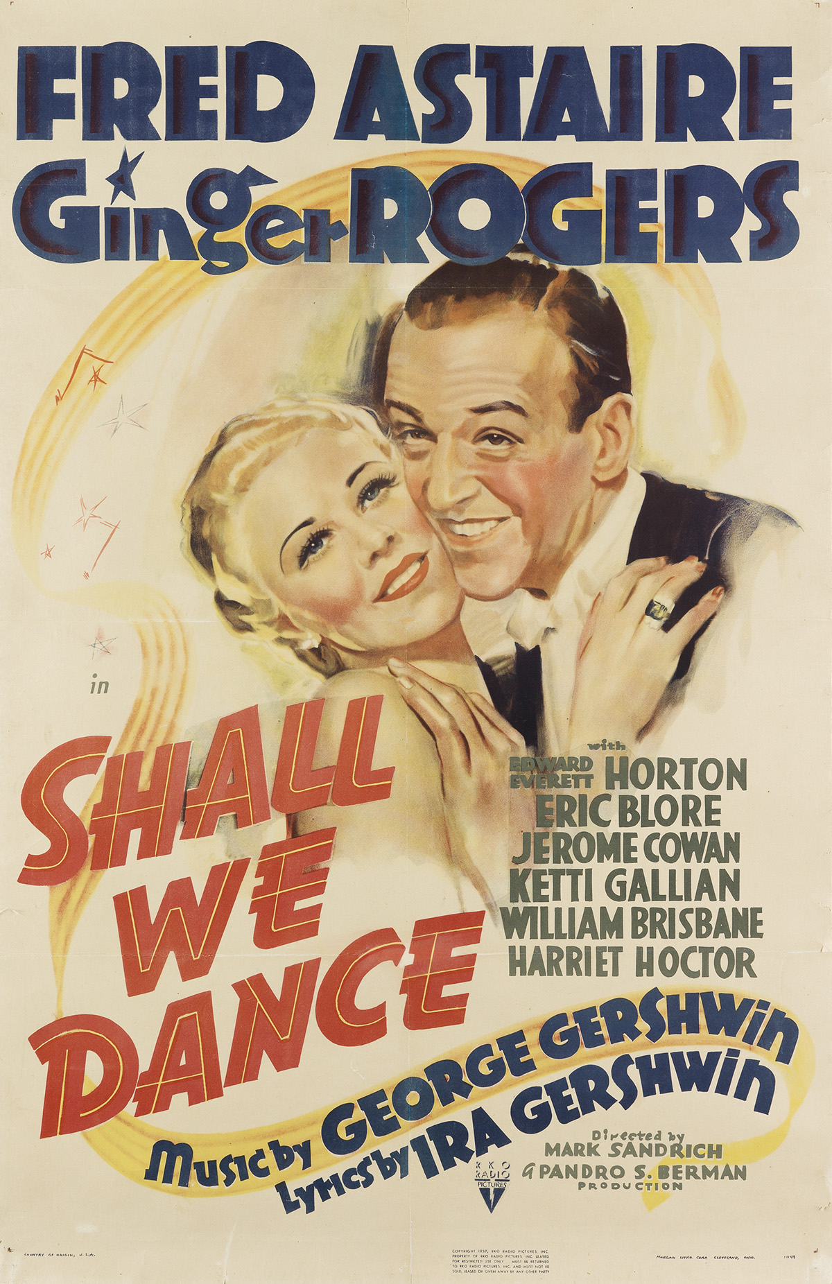 DESIGNER UNKNOWN. SHALL WE DANCE / FRED ASTAIRE / GINGER ROGERS. 1937. 39x25 inches, 101x65 cm. Morgan Lith. Corp., Cleveland.