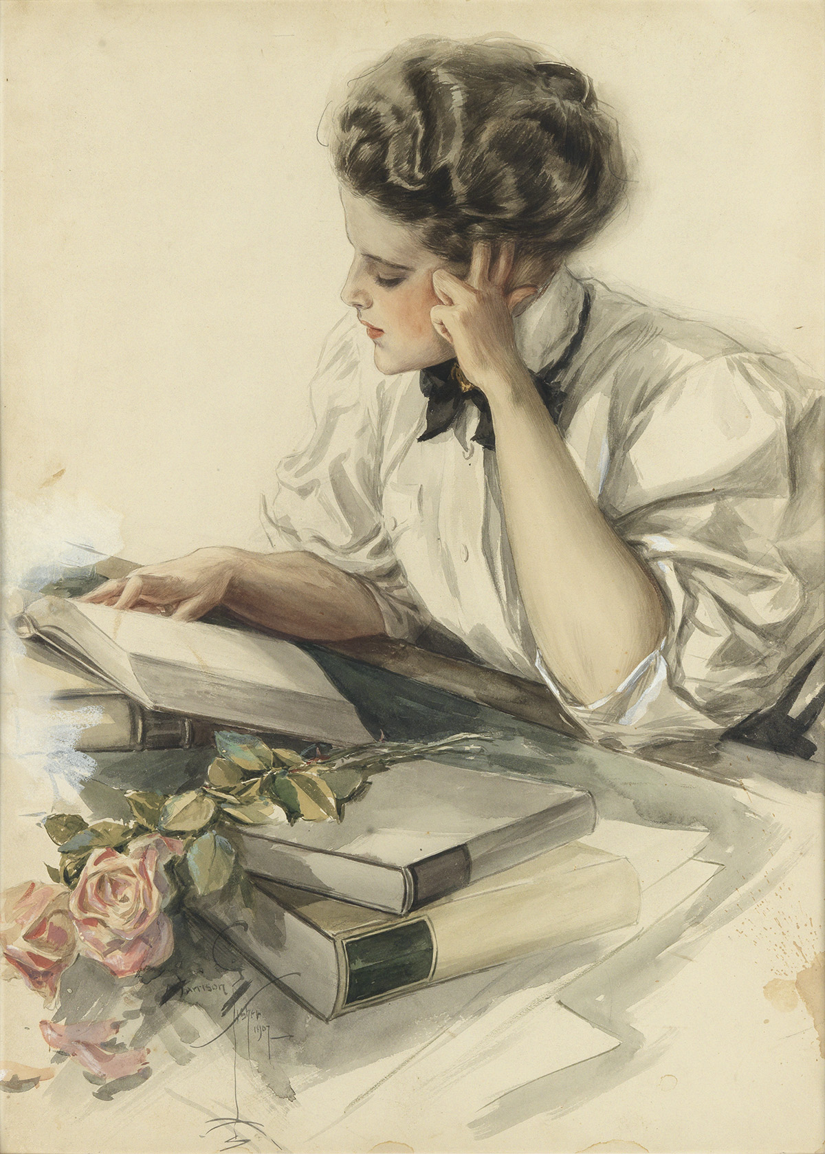 HARRISON FISHER. The Study Hour (The College Girl at Her Studies).