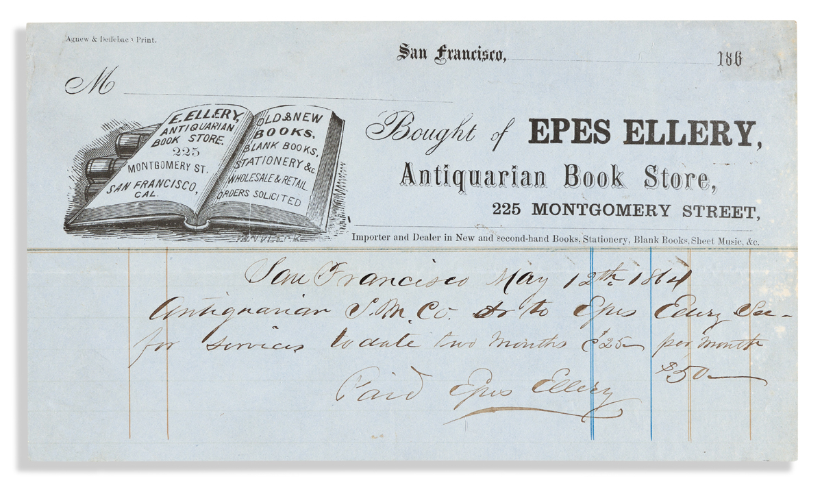 (CALIFORNIA.) Business license and billhead for San Franciscos first antiquarian bookseller, Epes Ellery.