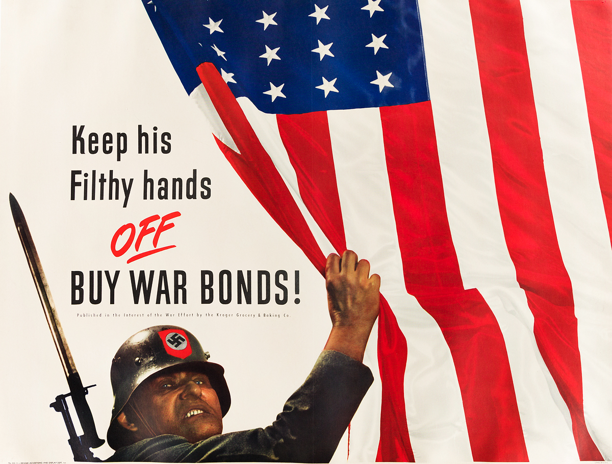DESIGNER-UNKNOWN-KEEP-HIS-FILTHY-HANDS-OFF--BUY-WAR-BONDS-1943-35x46-inches-90x118-cm-Kroger-Advertising-and-Display-Dept-Memph