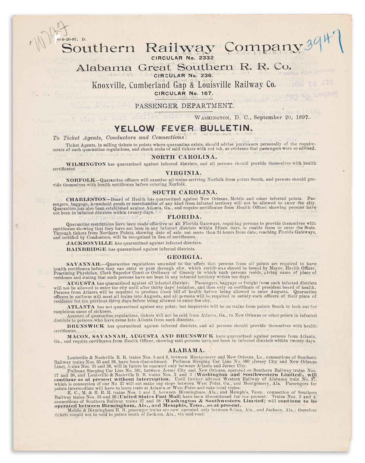 (MEDICINE.) Large group of railroad Yellow Fever Bulletins detailing quarantine conditions in southern cities.