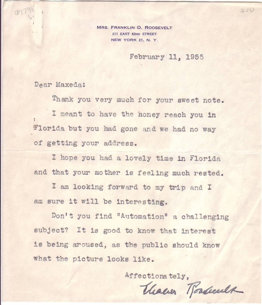 ROOSEVELT-ELEANOR-Typed-Letter-Signed-to-Maxeda-von-Hesse