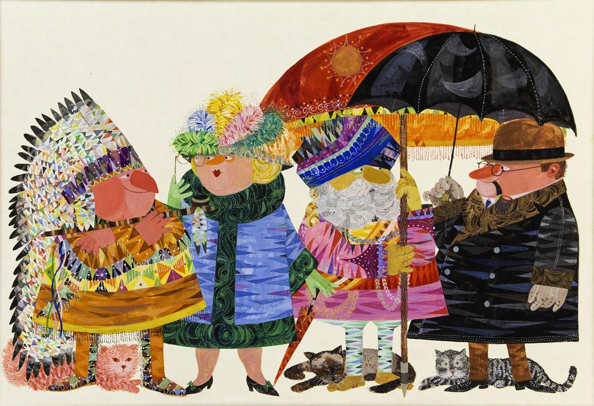 JEROME SNYDER. There are all kinds of every kind of thing, of umbrellas, hats, and wheels, of houses, cats, and people. [CHILDRENS]