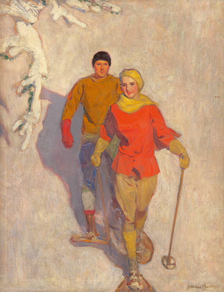 (SPORTS.)  McCLELLAND BARCLAY. Couple Wearing Snowshoes.