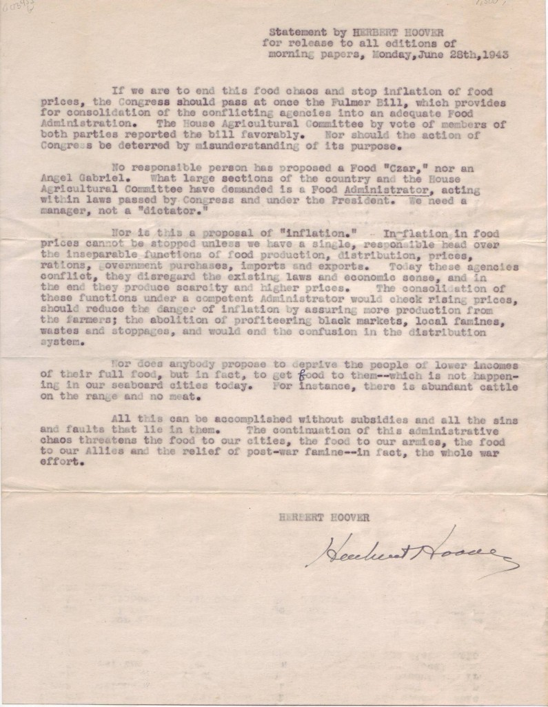 HOOVER-HERBERT-Signature-on-a-copy-of-a-typed-press-release-