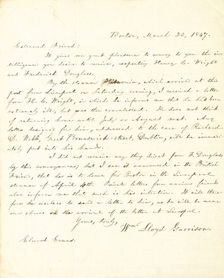 """(SLAVERY AND ABOLITION.) GARRISON, WILLIAM LLOYD. Autograph Letter Signed to """"""""Dear Friend,"""""""" Elwood Evans."""