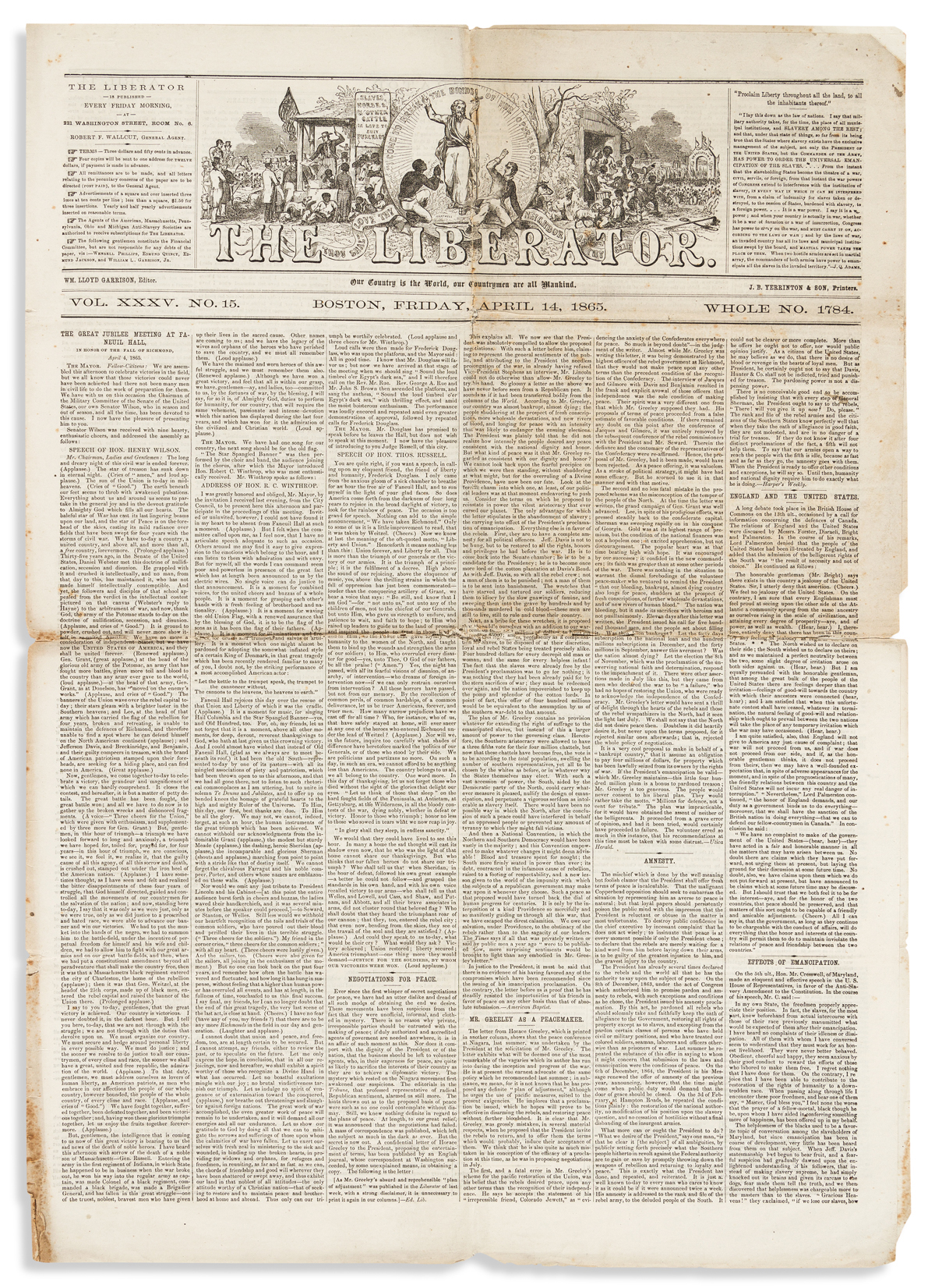 (SLAVERY AND ABOLITION.) Issue of the Liberator from the date of Lincolns assassination.
