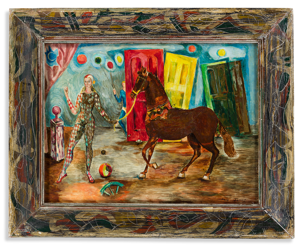 FRED JONES (1914 - 2004) Untitled (Circus Performers with Horse).