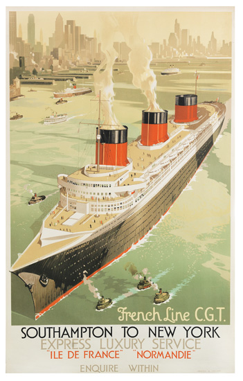 DESIGNER UNKNOWN. FRENCH LINE C.G.T. / SOUTHAMPTON TO NEW YORK [NORMANDIE.] Circa 1936. 39x24 inches, 100x63 cm.