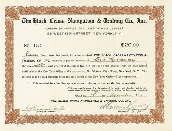 GARVEY, MARCUS. The Black Cross Navigation & Trading Co. Inc.
