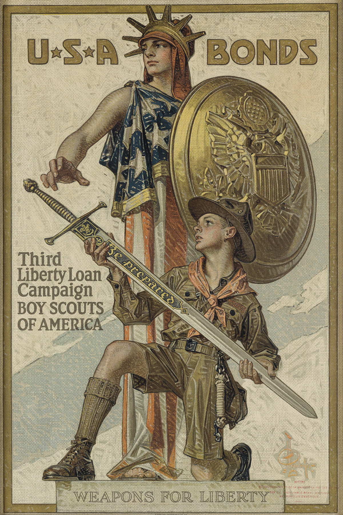 JOSEPH-C-LEYENDECKER-(1874-1951)-USA-BONDS--THIRD-LIBERTY-LO