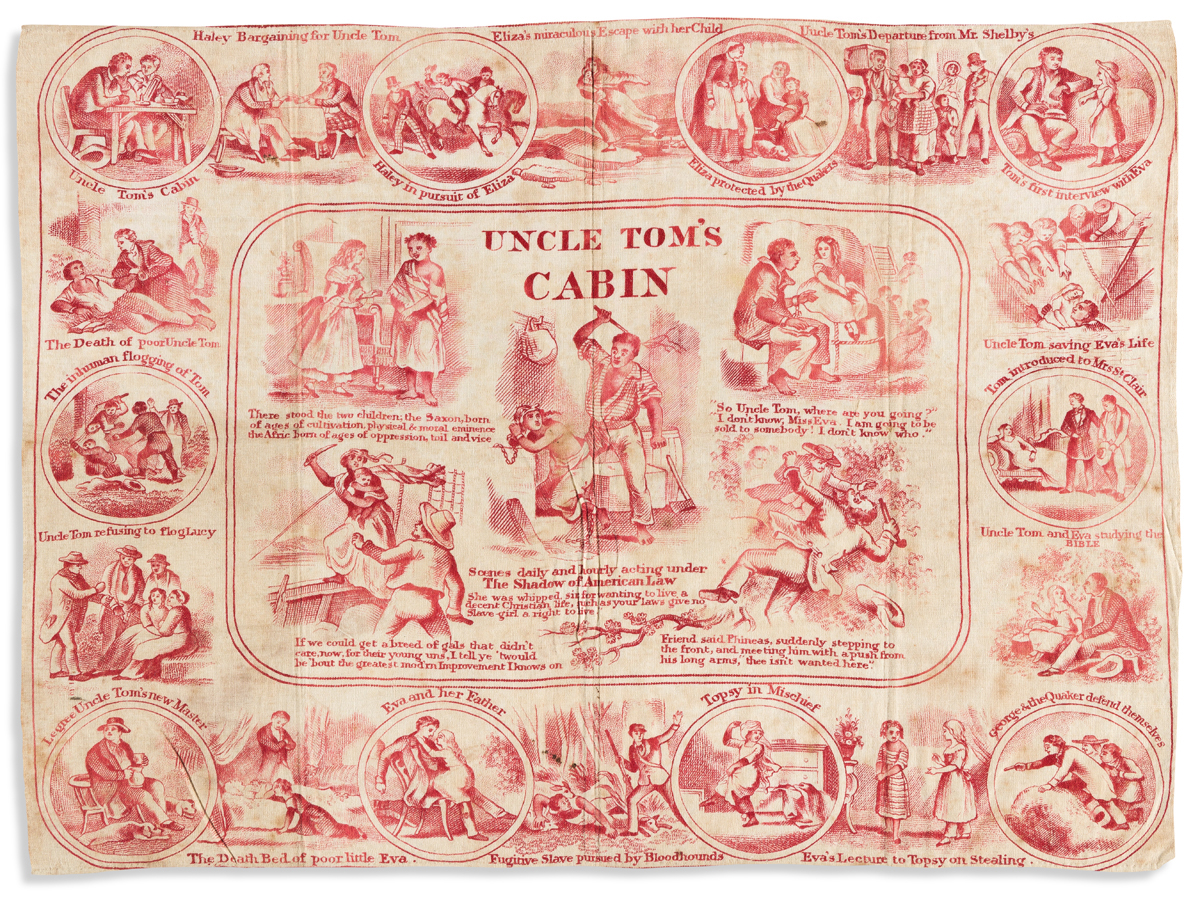 (SLAVERY AND ABOLITION.) Uncle Toms Cabin pictorial bandanna.