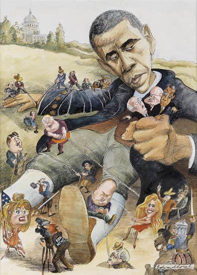 EDWARD SOREL. Obama as Gulliver.
