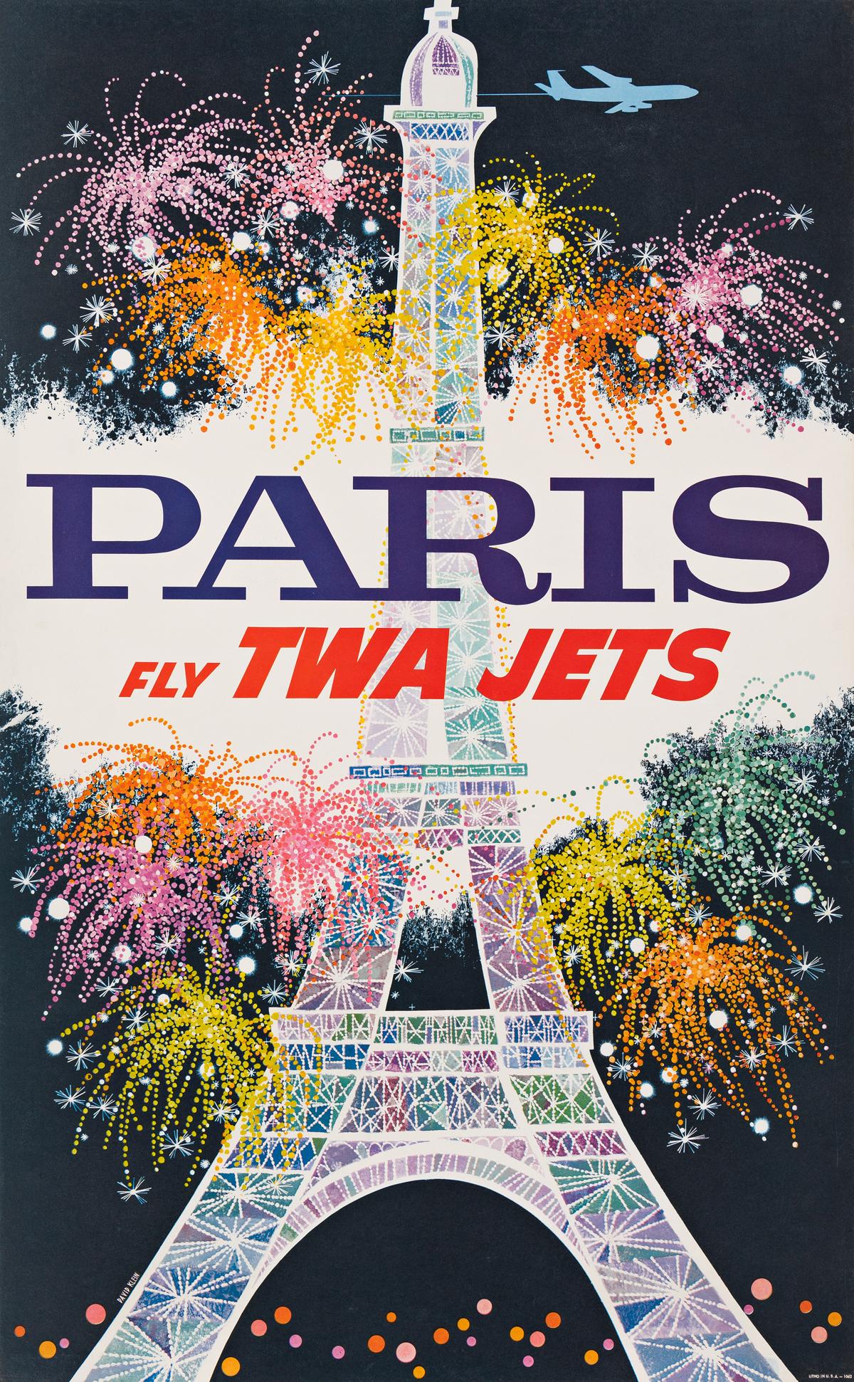 David Klein (1918-2005).  PARIS / FLY TWA JETS. 1962.