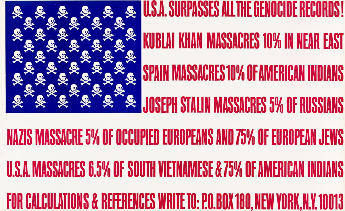 GEORGE MACIUNAS (1931-1978).  U.S.A. SURPASSES ALL THE GENOCIDE RECORDS! 1966. 21¼x34½ inches, 54x87½ cm.