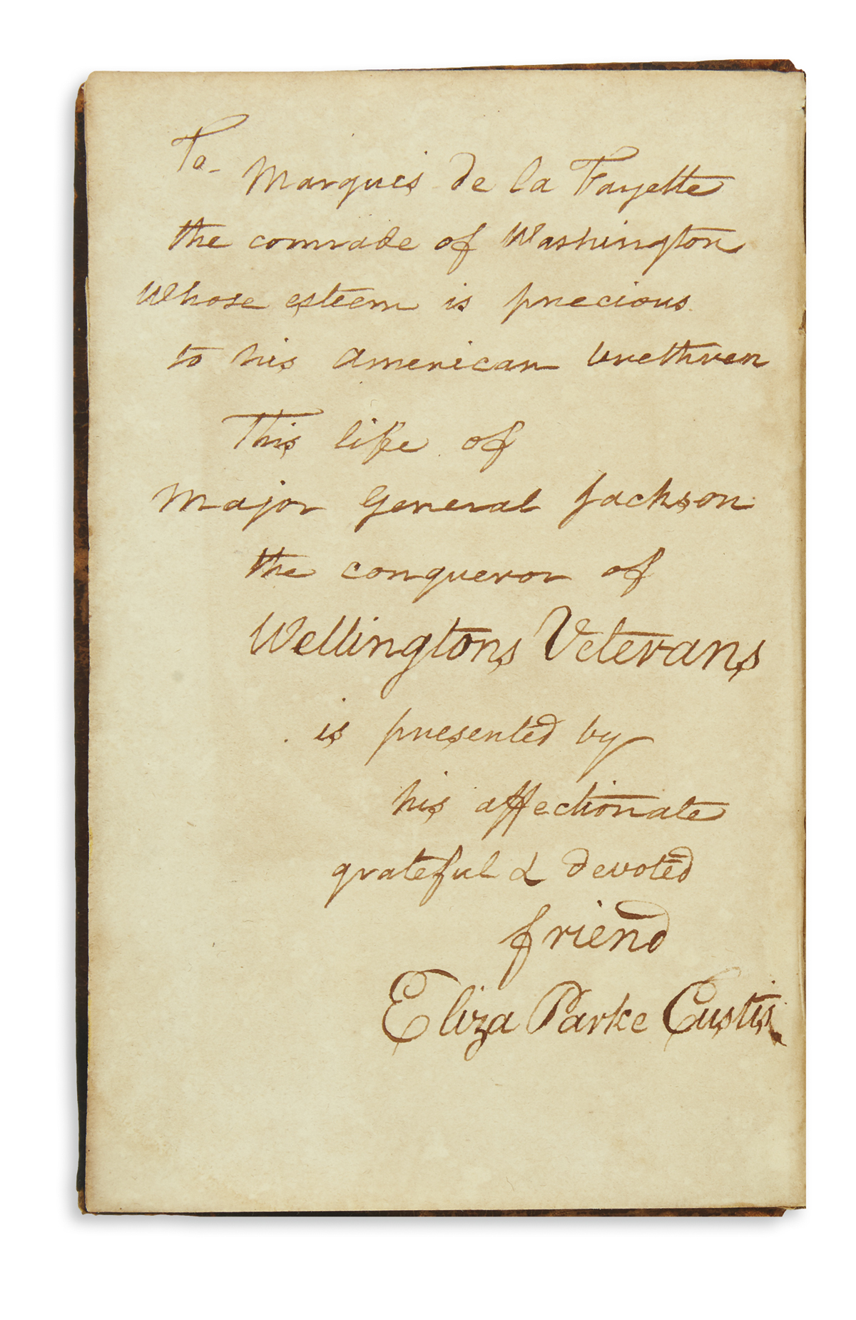 (WASHINGTON, GEORGE.) Waldo, S. Putnam. Memoirs of Andrew Jackson.
