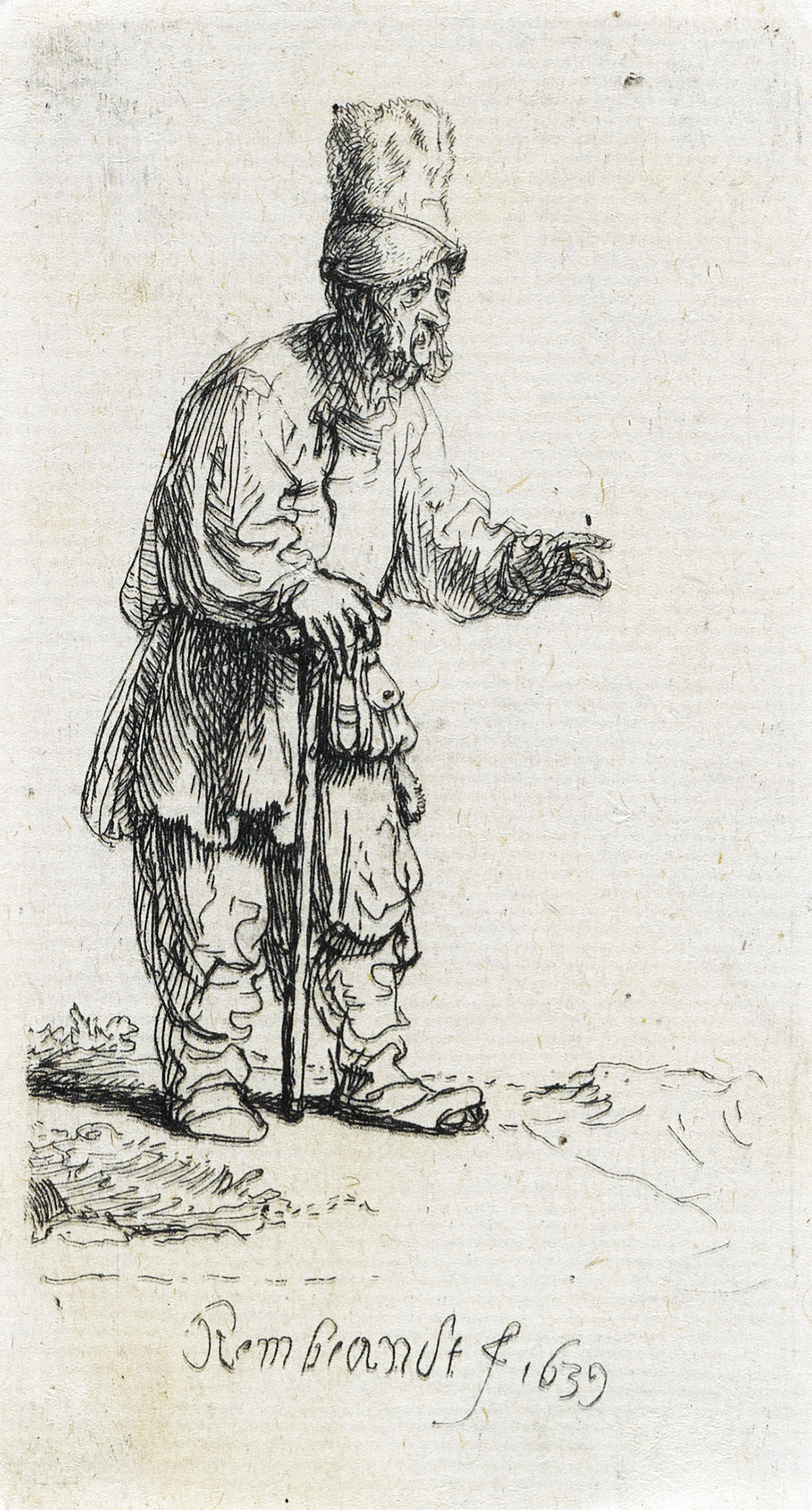 REMBRANDT-VAN-RIJN-A-Peasant-in-a-High-Cap-Standing-Leaning-